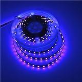 UV Blacklight Led Strip Waterproof 16FT 3528SMD Ultraviolet Light UV LED Strip Light Night Fishing with Check Sterilization Function DC12V(Black PCB)