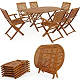 Garden furniture set Boston - 1 table & 6 chairs - Acacia wood terrace outdoor