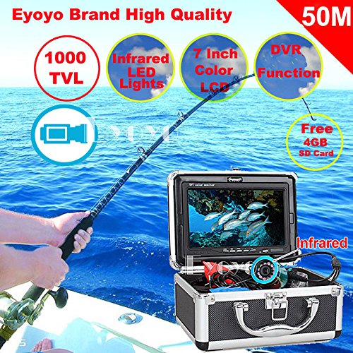 "Eyoyo Original CR110-7L 50M 1000TVL HD CAM Professional Fish Finder Underwater Fishing Video Recorder DVR 7"" Color Monitor Infrared IR LED lights + 4GB SD card"