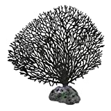 Jardin Soft Plastic Coral Simulation Underwater Aquarium Ornament, 5.5-Inch Height, Black