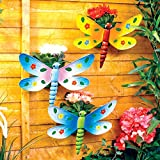 3 Wall Mountable Garden Dragonfly Potted Plant Pots Metal Planters