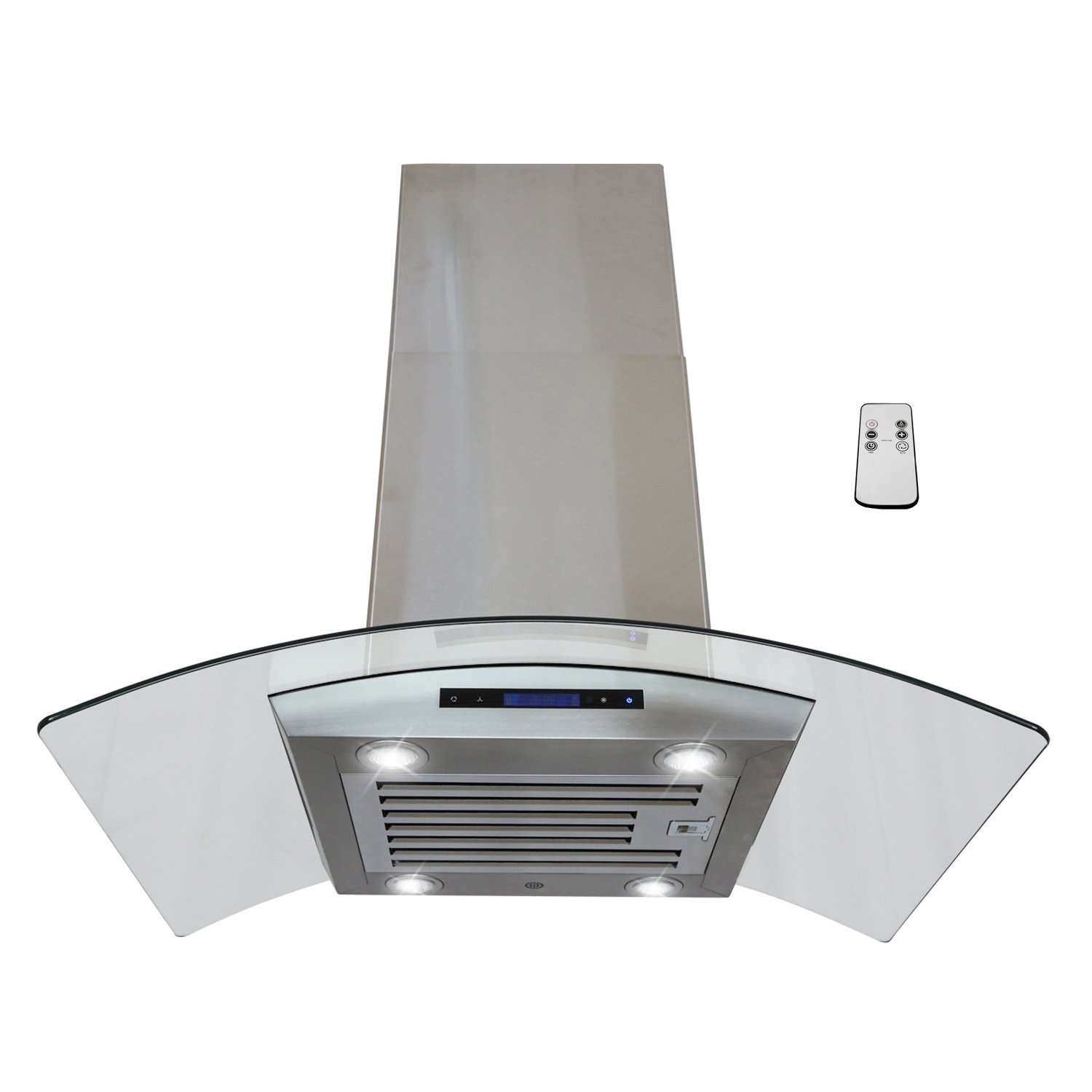 "AKDY® 36"" Island Mount Stainless Steel 4 LED lights Kitchen Vent Range Hood Touch Panel w/ Baffle Filter & Remote"