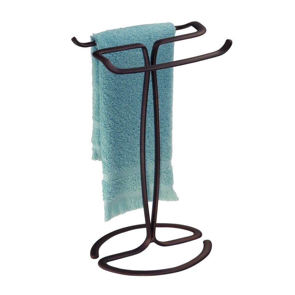 Interdesign Axis Free Standing Towel Rack For Bathroom Vanities Bronze 7 6 X 6 2 X 13 8 Inches