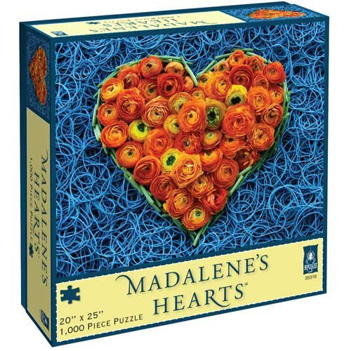 615ViPf9EpL Cheap Price Madalenes Hearts Blue Bands and Orange Flowers Jigsaw Puzzle