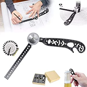 Multifunction Magcon Drawing Tool Versatile Drawing Curved Magnetic Ruler Mini Compass and Protractor Combo (Color: Black, Tamaño: 7.5-8 cm)