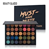 Beauty Glazed Eyeshadow Palette, Professional 35 Colors Matte Eye Shadow Pallet Waterproof Powder Natural Pigmented Nude Smokey Eyes Pallete (Color: 35color)
