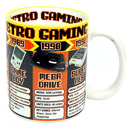 Retro Game Consoles Mug. Official, Boxed mug which includes Game Boy, Mega Drive, Super Nes, Atari etc.
