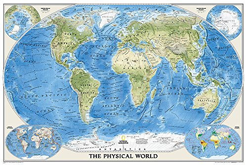 World Physical [Poster Size and Laminated] (National Geographic Reference Map)