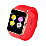 Alike C08 Men and Women Fashion Bluetooth Smart Watches Can Phone and Camera Sports Watch(red) (Color: red)