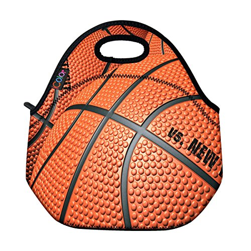 ICOLOR Basketball Insulated Neoprene Lunch Bag Tote Handbag lunchbox Food Container Gourmet Tote Cooler warm Pouch For School work Office (Basketball Food compare prices)