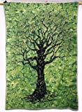 Tree Print Wall Tapestry Table Runner Green Twin Size Bed Cover India 82 X 57...