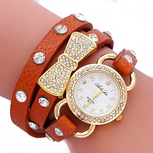 Shot-In Women Retro Crystal Wrap Around Leather Strap Quartz Bracelet Chain Wrist Watch(Brown)