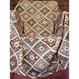 . Multi coloured Geometric Decorative AZTEC Sofa Throw. Brick Red, Green, Gold, Cream, Burgundy. This throw offers...