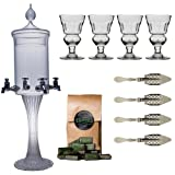 ALANDIA Barware Absinthe Accessory Set Heure Verte with 1x Absinthe Fountain/4x Absinthe Glasses/4x Absinthe Spoons/1x Absinthe Sugar Cubes - Drink Absinthe the traditional way!