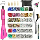 Hotfix Applicator, Hot Fix Rhinestone Setter Wand Tool, Hot-fix Bedazzle Kit, 4360 Pcs, AB Crystal, Rainbow, Clear, Colors, Tips, Manual, Tweezers, Tray, Gem Picker, Brush, Stand, Bag, 3 Jewel Sizes (Color: Upgraded)