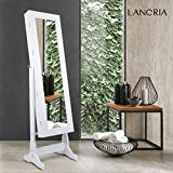 LANGRIA Free Standing Lockable Full Length Mirrored Jewelry Cabinet Armoire, 2 Drawers, 3 Angle Adjustable Organizer Storage for Rings, Earrings, Bracelets, Broaches, White Finish