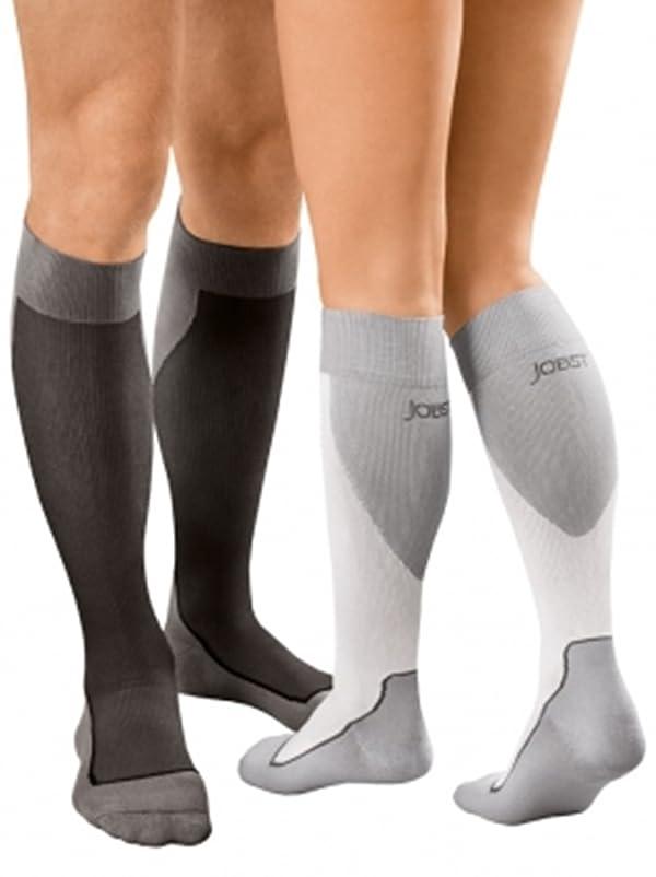 JOBST Sport Knee High 20-30 mmHg Compression Socks, Black/Cool Black, Large (Color: Black, Tamaño: Large)