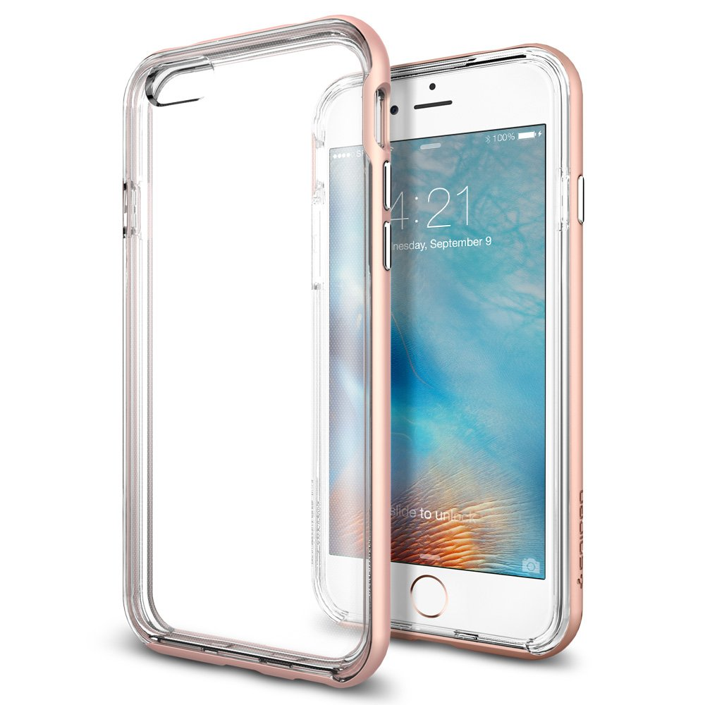 iPhone 6s Case, Spigen® (Neo Hybrid EX) PREMIUM BUMPER (Rose Gold) Clear TPU / PC Frame Slim Dual Layer Premium Case for iPhone 6 (2014) / 6s (2015) - Rose Gold (SGP11725)