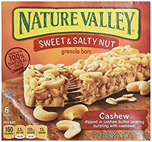 Nature Valley Sweet and Salty Nut Granola Bars, Cashew, 6 Count