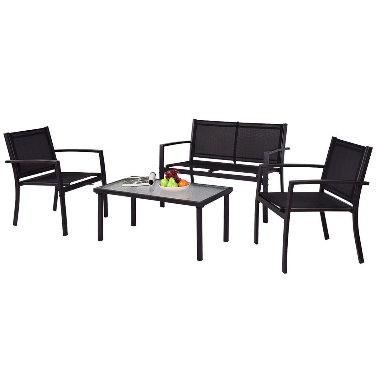 Tangkula Patio Furniture Set 4 Piece Outdoor Patio Steel Frame Table and Sofa Sets Conversation Set