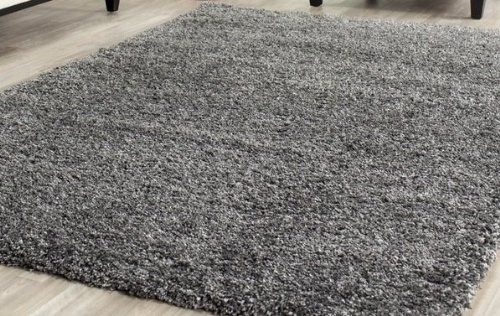 Huge shag rug blowout sale 5 39 x 8 39 gray solid shag rug for Thick area rugs sale