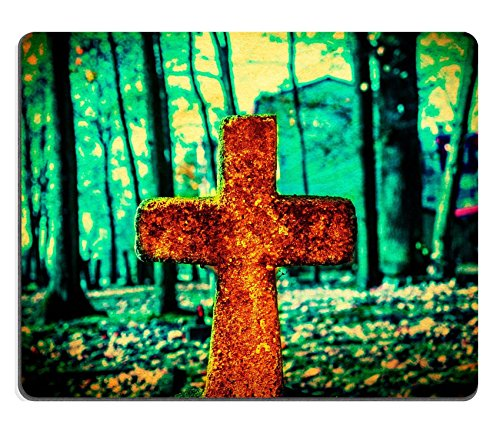 Luxlady Gaming Mousepad IMAGE ID: 33228465 Old and forgotten cross gravestone in dark mystical cemetery