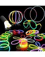"100 8"" Premium Glow Stick Bracelets Party Pack"