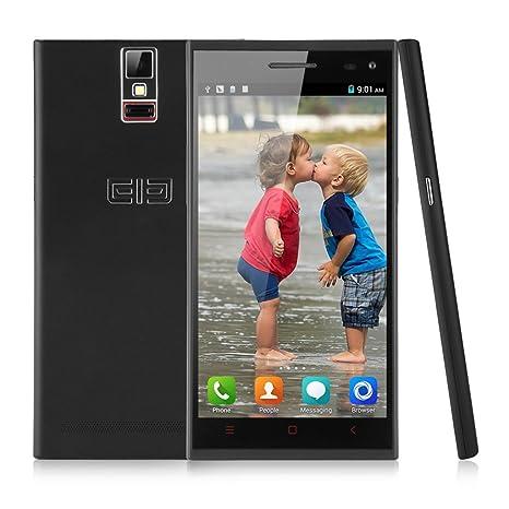 Elepone P2000 2G/3G Smartphone 5,5 Pouce HD IPS Grande Ecran Google Android 4.4 KitKat 2Go RAM+16Go ROM mémoire MTK6592 1,7GHz CPU 14.0 mégapixel caméra WIFI GPS Bluetooth FM OTG NFC Fingerprint portable avec Housse-Noir-pour orange S