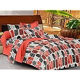Casa Basics - Ezy Collection Orange & Black Box Cotton Double Bedsheet With 2 Pillow Covers-144TC