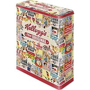Kellogg's Collage Blechdose / Vorratsdose XL 8x19x26 cm super tolle Dose in Retro Nostalgie Design