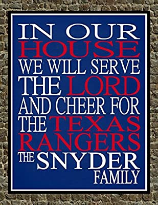 In Our House We Will Serve The Lord And Cheer for The Texas Rangers Personalized Family Name Christian Print - Perfect Gift, baseball sports wall art - multiple sizes