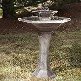 Smart Solar Smart Solar Alfresco 2-Tier Solar Bird Bath Fountain, Resin & Fiberglass, 24L x 20W x 31H in.