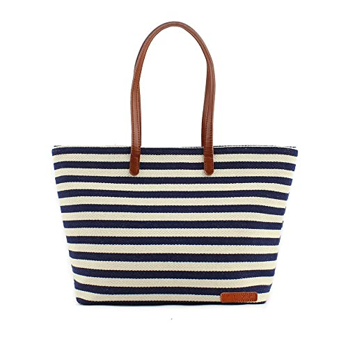 ZLYC Women Ladies Summer Beach Handbags Stripe Tote Canvas Shoulder Zipper Bag Blue & Beige -   tote bags - tote handbags - handbags for women