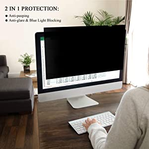 Ovimir 23 Inch (Diagonally Measured) Computer Privacy Screen Filter, [16:9 Aspect Ratio] for Widescreen Monitors Anti-Glare - Anti-Scratch Screen Protector - (WxH:509mmx286mm) (Color: 23 Widescreen (16:9 Aspect Ratio))