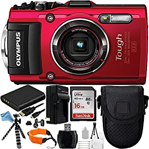 Olympus Stylus TOUGH TG-4 Digital Camera (Red) 21PC Accessory Kit. Includes SanDisk Ultra 16GB Memory Card (SDSDUN-0016G-G46) + Replacement Li-90 Battery + AC/DC Rapid Home & Travel Charger + MORE