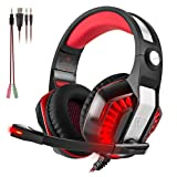 Beexcellent GM-2 Gaming Headset with Mic-Sound Clarity, 2.1m Cable, Noise Reduction Headphone with LED Lights for Computer Game, PS4, Xbox One, Laptops, Tablet, Smartphones, PC With A free Y Splitter
