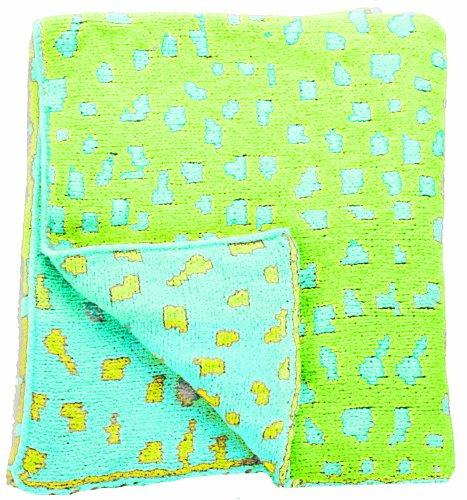 "Manual Woodworkers Izzy Plush Chenille Baby Blanket, Blue And Green Leopard Spot, 30 X 40"" (Discontinued by Manufacturer)"
