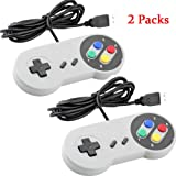 Wee 2 Pack USB Controller for Super Nintendo, SNES Retro Famicom Game Gaming Joypad Gamepad for Windows PC MAC Linux Android Raspberry Pi (Multicolored)