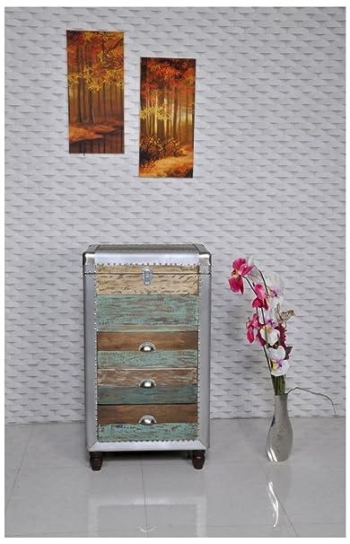 The Wood Times Kommode Schrank Vintage Look, Materialmix MDF, Mangoholz, Metall, Rollbar, BxHxT 61x108x41 cm