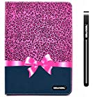 CowCool® iPad Air2 Case, PU Leather Wallet Stand Case for Apple iPad Air2 [iPad 6] Leopard print with Bow Stand Kickstand Hand Stitching Protective Cover (Style6)