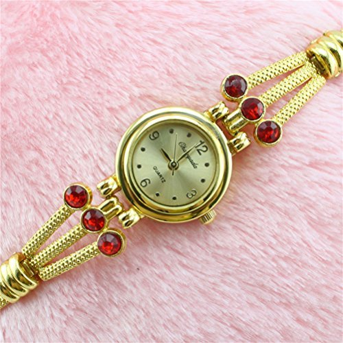 U-beauty Fashion Women Gold Rhinestones Bracelet Wrist Watch Quartz Watches Ladies Wrist Watch Gift
