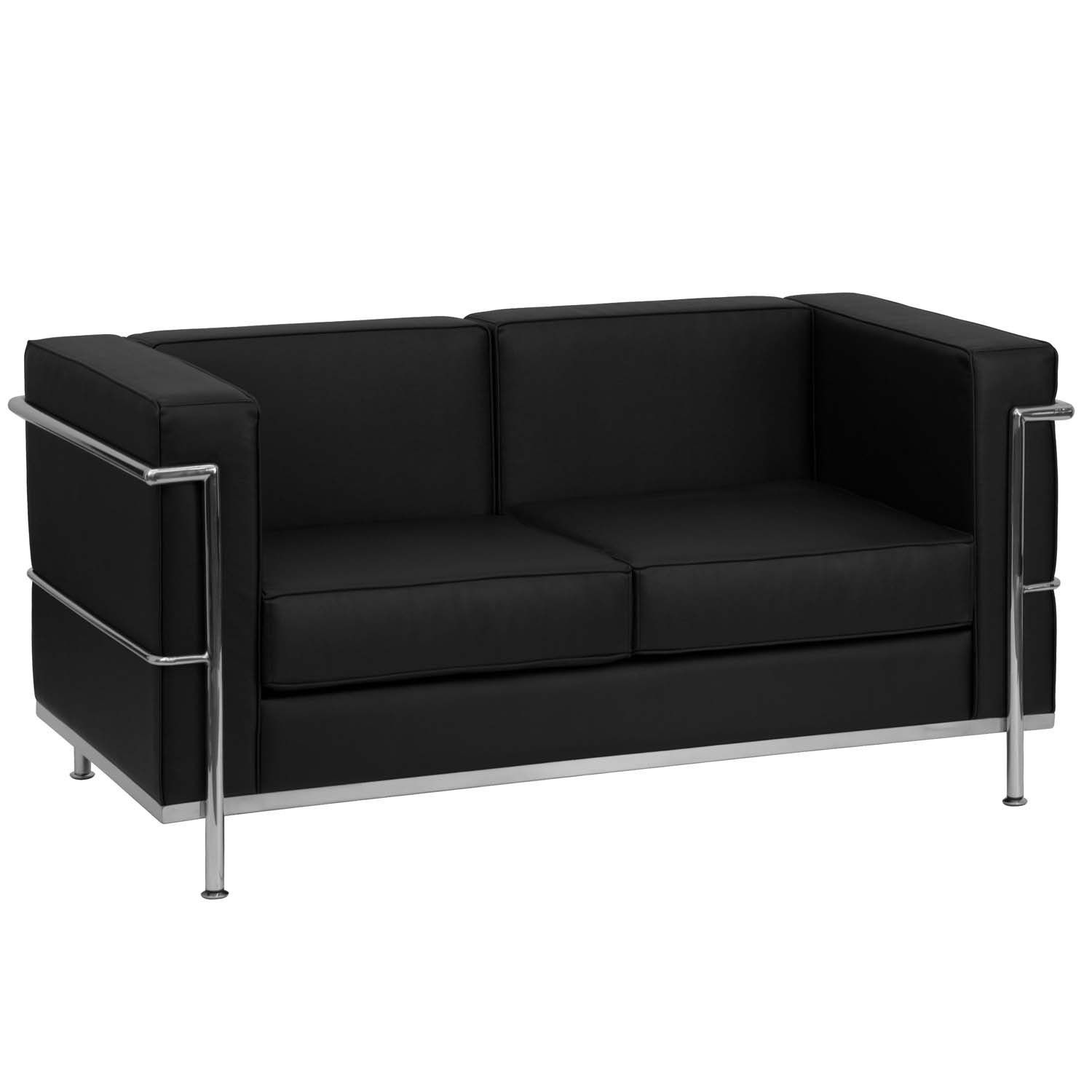 Flash Furniture HERCULES Regal Series Contemporary Black Leather Love Seat with Encasing Frame [ZB-REGAL-810-2-