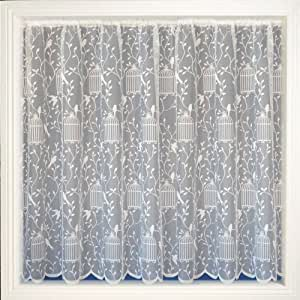 White Bird Cage Net Curtain Lace Curtains Songbird 36 Drop Home Kitchen