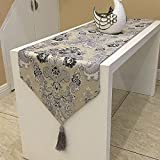 おしゃれ テーブル ランナー 空間 モダン インテリア リビング おもてなし アジアン ラグ 刺繍 カバー リネン 寝室 ベッド クロス 北欧 タッセル 付き (205×33cm, グレー)