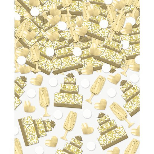 Amscan Value Pack Bright Cake & Champagne Party Confetti, 2-1/2 oz, Gold