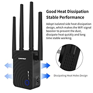 COMFAST CF-WR754AC WiFi Range Extender, 1200Mbps Dual Band 2.4GHz/5.8GHz WiFi Repeater, WiFi Signal Booster with 4 Antennas and WPS Function, Supports Repeater/Access Point/Router Mode (Color: Black)