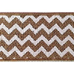 "2.5"" x 10 Yards Chevron Design Natural Burlap Jute Ribbon (White)"