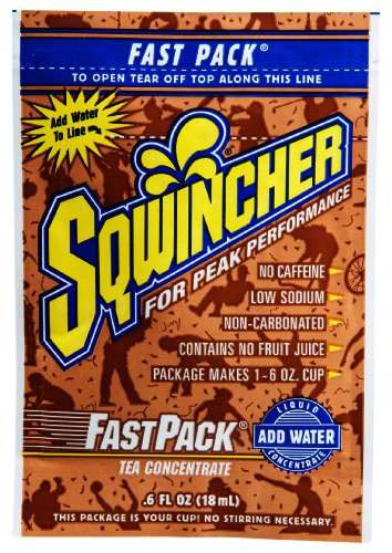 Sqwincher 015306-Tea 0.6 Oz Fast Pack Liquid Concentrate Electrolyte Replacement Beverage Mix, Tea Flavor (4 Boxes Of 50)
