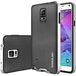Galaxy Note 4 Case, Caseology® [Envoy Series] Premium Leather Bumper Cover [Metallic Mesh Silver] [Leather Bound] for Samsung Galaxy Note 4 - Metallic Mesh Silver