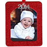 2014 Magnetic Glitter Christmas Photo Frame Ornaments, Vertical - Red